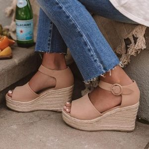 Shoes - Sweet Summertime Espadrille Wedges-Latte